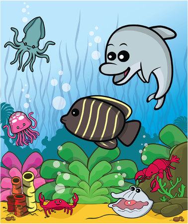 to collect: fish cute collect Illustration