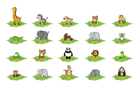 grass land: animal salvaje set pista de la hierba