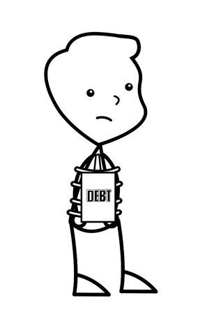 빚: businessman debt 일러스트