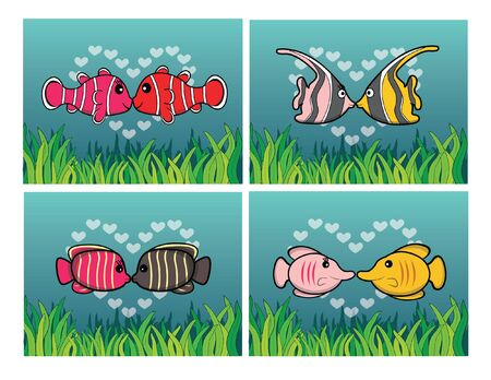 angel fish: clown fish, moorish idol, angel fish, butterfly fish romantic couple with underwater scenery