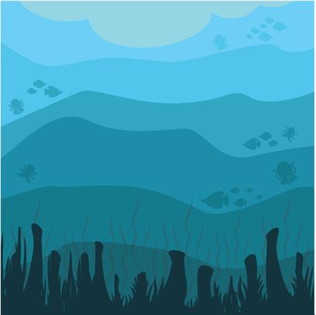 珊瑚海の景色  イラスト・ベクター素材