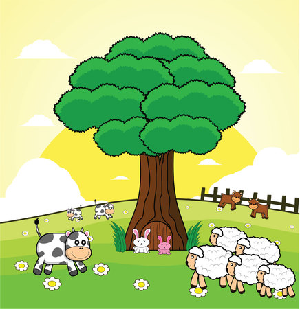 green day baby blue background: cow and sheep garden