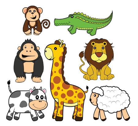 funny animal: funny animal set: lion,girafe,cow,goat.monkey,gorilacrocodile Illustration
