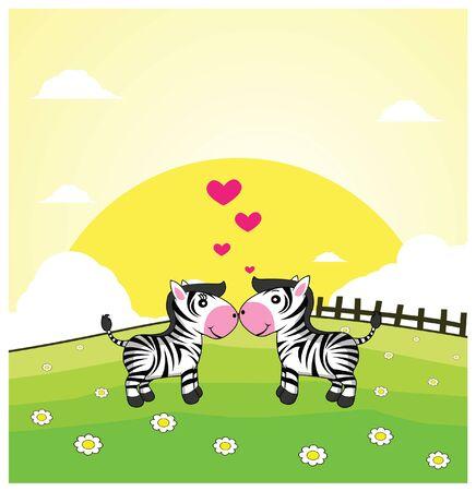 romantic: zebra romantic couple with grass land background