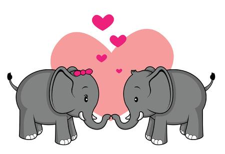 romantic: elephant romantic couple