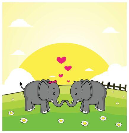 grass land: elefante pareja rom�ntica con el fondo de la tierra hierba Vectores