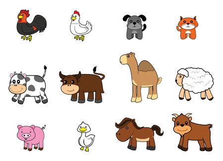 isolated animal: farm animal set