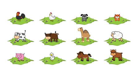 grass land: Animales de granja conjunto de pista de la hierba