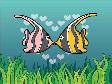 moorish idol: moorish idol romantic couple with underwater scenery