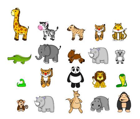 animales safari: Wild Animal Set Vectores