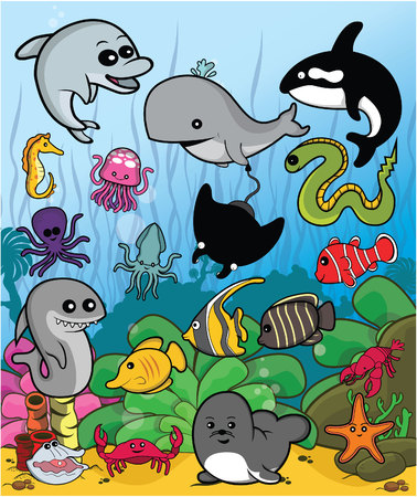 sea view: marine animal set with underwater scenery