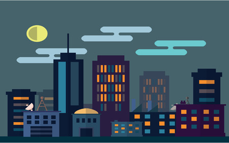 metropolitan: Metropolitan scenery at night Flat color concept design illustration Illustration