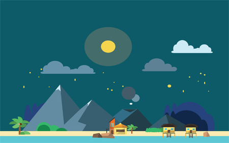 port of spain: Night Beach View Flat color concept design illustration