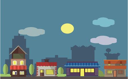 Shoping district at night Flat color concept design illustration Illustration