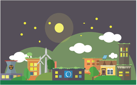 city night: Ecology city night scenery Flat color concept design illustration