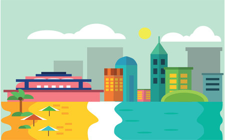 scenery: Beach scenery witn city view Flat color concept design illustration
