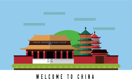 Travel to China Flat color concept design illustration