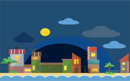 coastal: Real estate night view and beach scenery Flat color concept design illustration Illustration