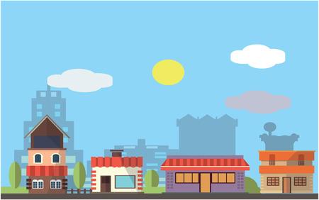 hong kong street: Shoping district Flat color concept design illustration Illustration