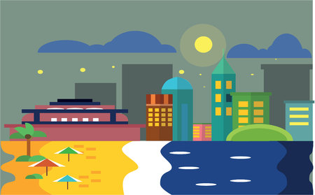 perspectiva ciudad: Night Beach scenery witn city view Flat color concept design illustration Vectores
