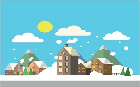 winter scenery: Winter scenery at village Flat color concept design illustration Illustration