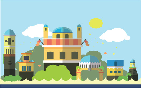 maharaja: City palace Flat color concept design illustration