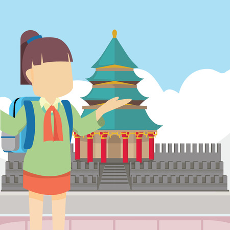 scholar: scholar girl in china Illustration