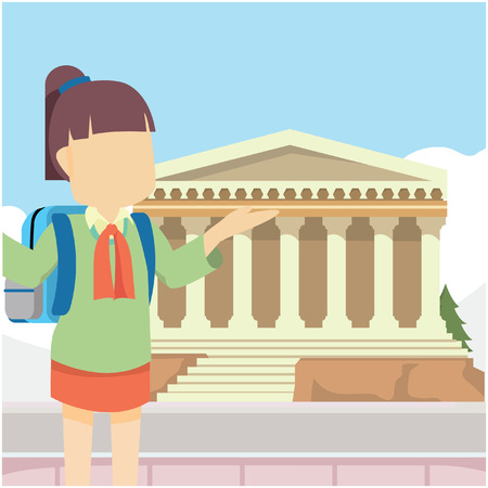 scholar: scholar girl in greek Illustration