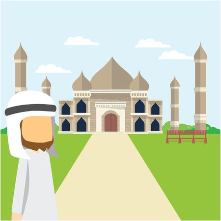 mahal: arabian tour taj mahal Illustration