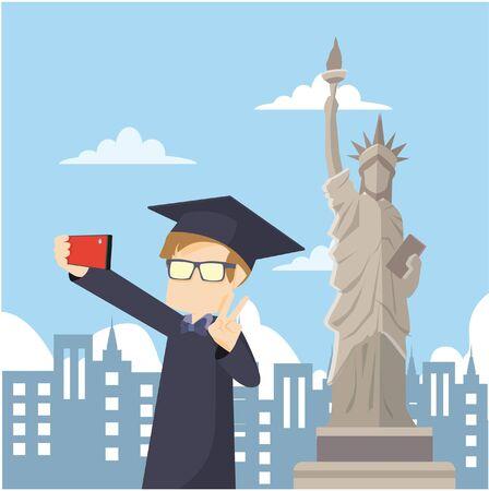 scholar: scholar selfie  infront of liberty