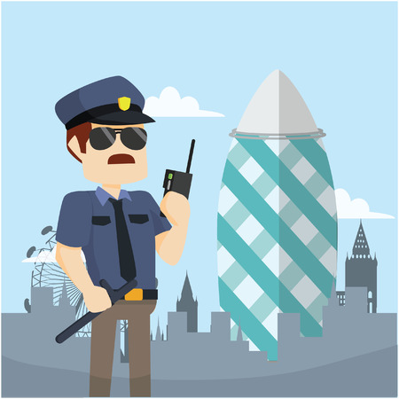 gherkin: officer guarding gherkin tower Illustration