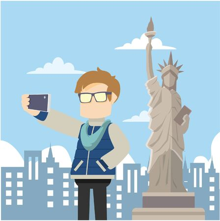 freedom couple: selfie infront of liberty