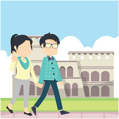 couple walking infront colloseum