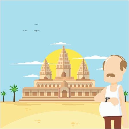 adult in angkor wat Illustration