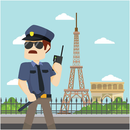 guarding: officer guarding paris
