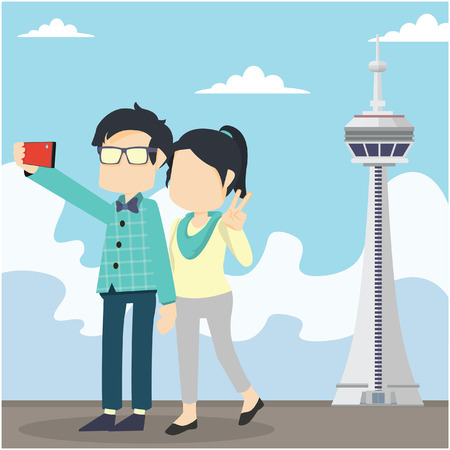 stylish couple: couple selfie in cn tower