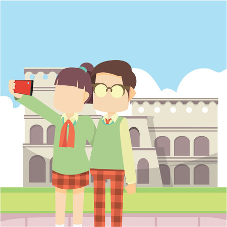 schoolboy selfie in colloseum Stock Illustratie