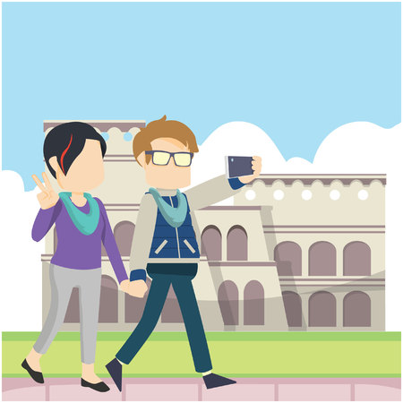 walking and selfie infront colloseum Stock Illustratie