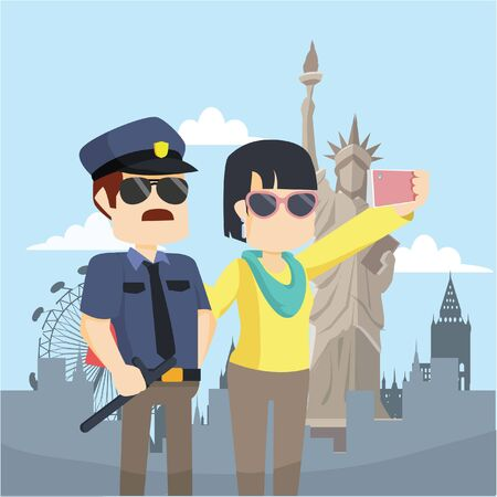 local: woman taking selfie with local police
