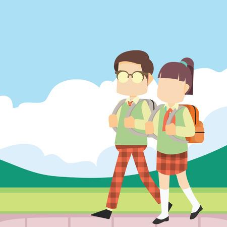 schooldays: schoolboy and schoolgirl walking to school