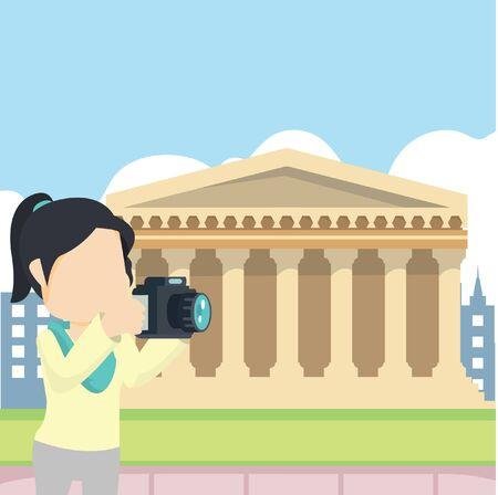 girl tour rome Stock Illustratie