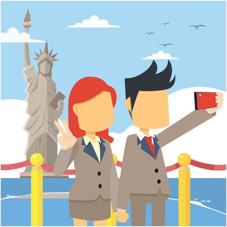 liberty: couple selfie liberty