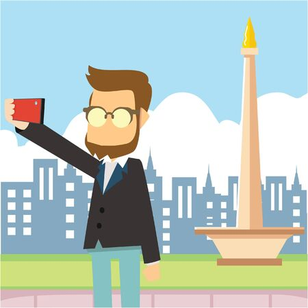 a man selfie tour monas Illustration