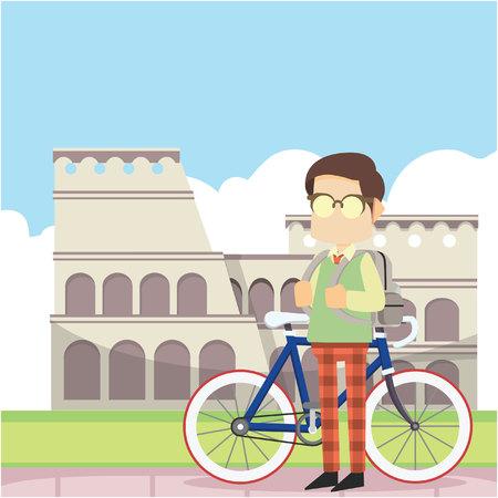schoolboy cycling to colloseum Stock Illustratie