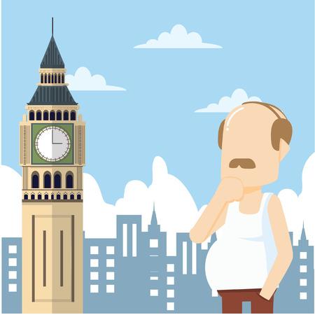 oldman: oldman tour big ben Illustration
