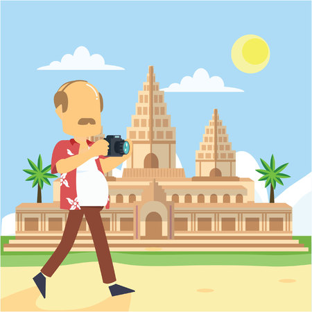 oldman: oldman visit angkor wat Illustration