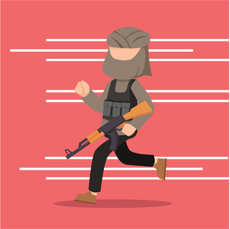 terrorist running for cover Illustration