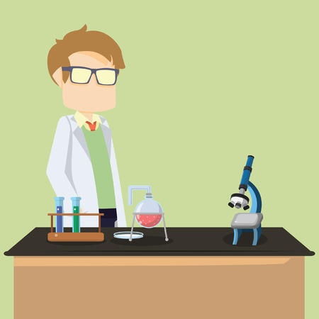 scientist infront table