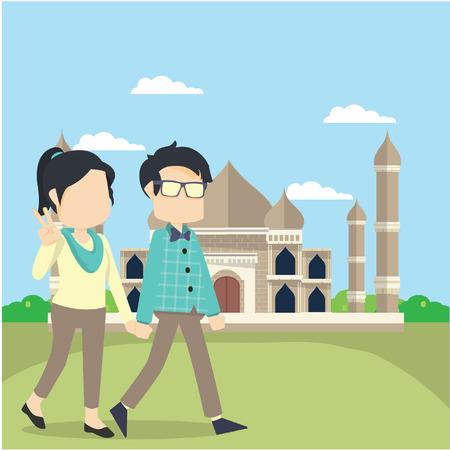 agra: boy and girl tour tajmahl