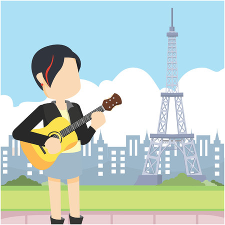 rocker girl: chica del eje de balancín que sostiene la guitarra delante de la torre Eiffel Vectores